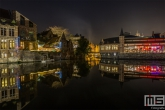 Te Koop | De Oude Vismijn reflectie in de Leie in Gent in de nacht
