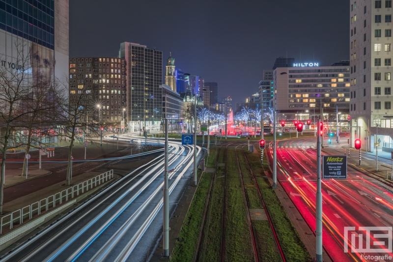Te Koop | Het uitzicht op het Hofplein in Rotterdam by Night