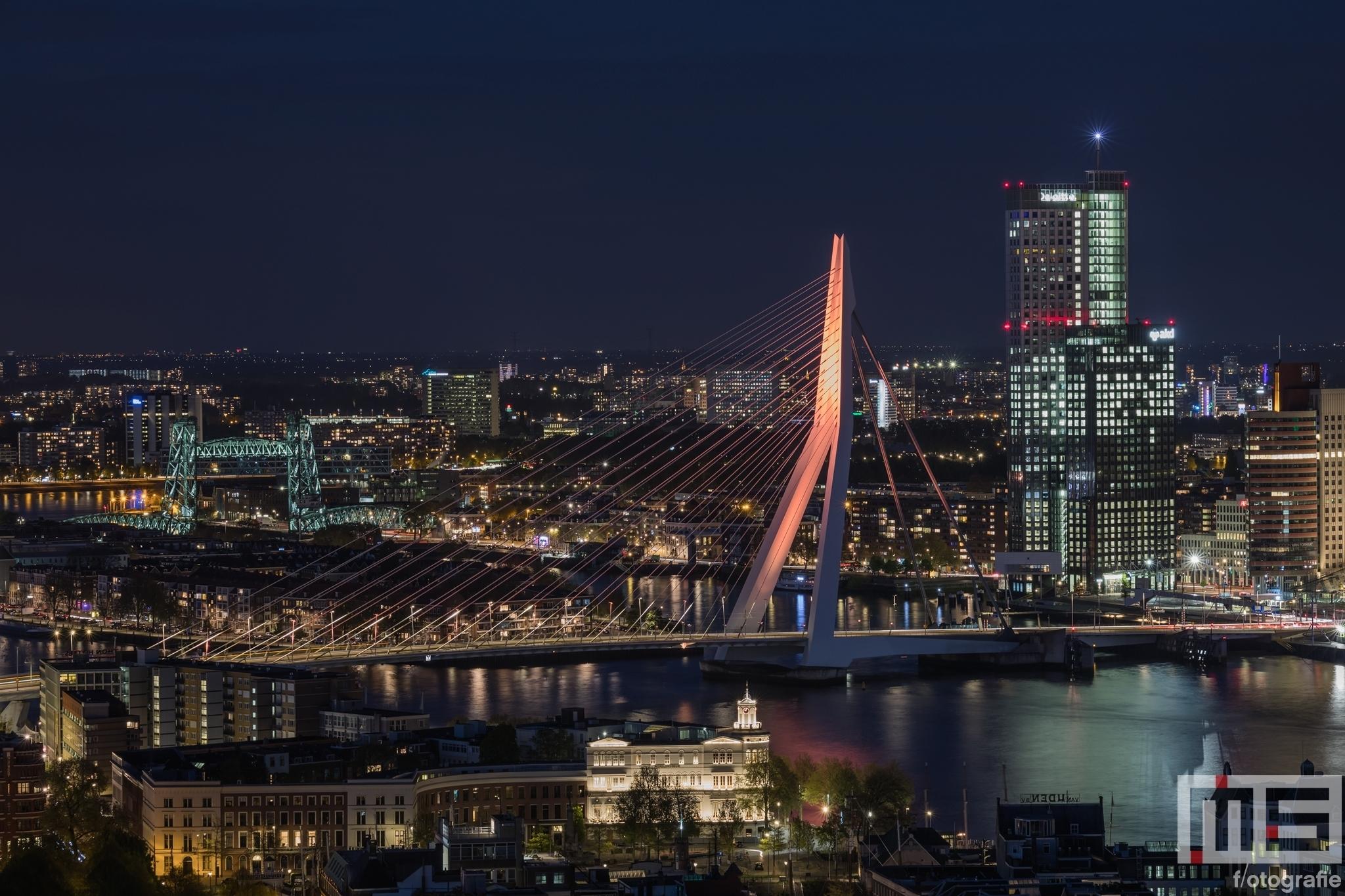 Te Koop | De Erasmusbrug in Rotterdam in oranje koningskleur