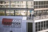 Het droneteam tijdens de huldiging van kampioen Feyenoord op de Coolsingel in Rotterdam