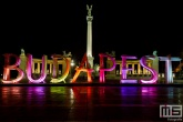Het Budapest kunstwerk op het Heroes Square in Budapest