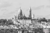 Te Koop | De Scare Coeur in Parijs vanuit Parc des Buttes in zwart/wit