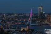 De Erasmusbrug in Rotterdam in het paars voor Wereld Prematurendag