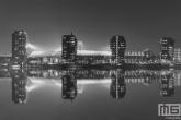 Te Koop | Het Feyenoord Stadion De Kuip in Rotterdam gespiegeld tijdens een speelavond in zwart/wit