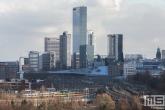 Het uitzicht op het central district en het Centraal Station van Rotterdam