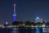 De Euromast in Rotterdam in rood, wit en blauw
