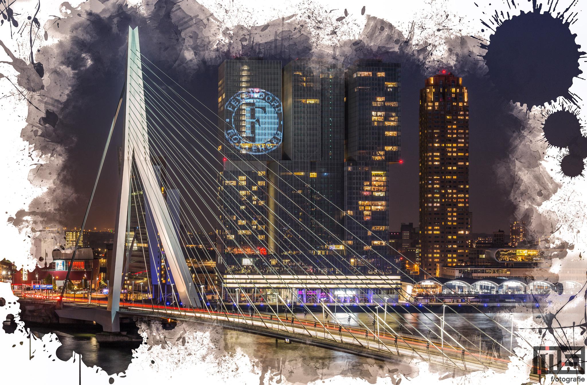 Te Koop   De Erasmusbrug en de Wilhelminapier met het Feyenoord logo op de Rotterdam
