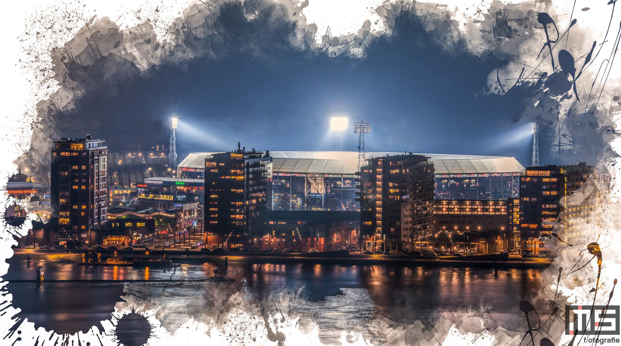 Te Koop   Een Feyenoord Art Stadion De Kuip in Rotterdam luchtfoto tijdens een speelavond