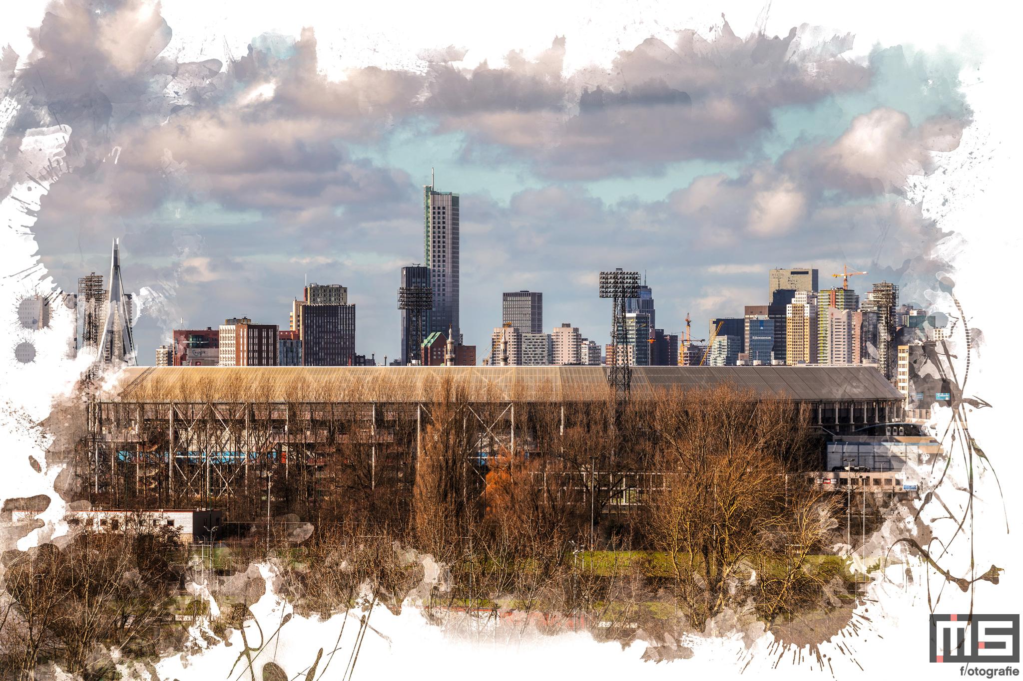 Te Koop   Een detailfoto van het Feyenoord Art Stadion De Kuip met op de achtergrond de skyline van Rotterdam