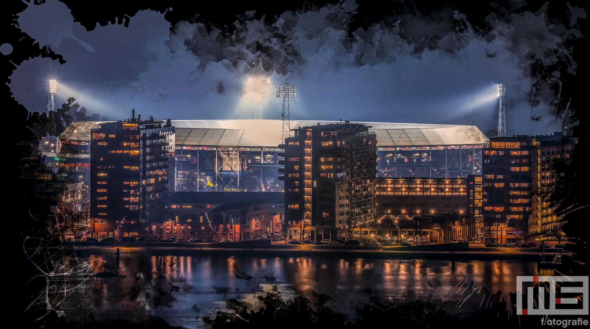 Te Koop   Het Feyenoord Art Stadion De Kuip in Rotterdam tijdens een speelavond