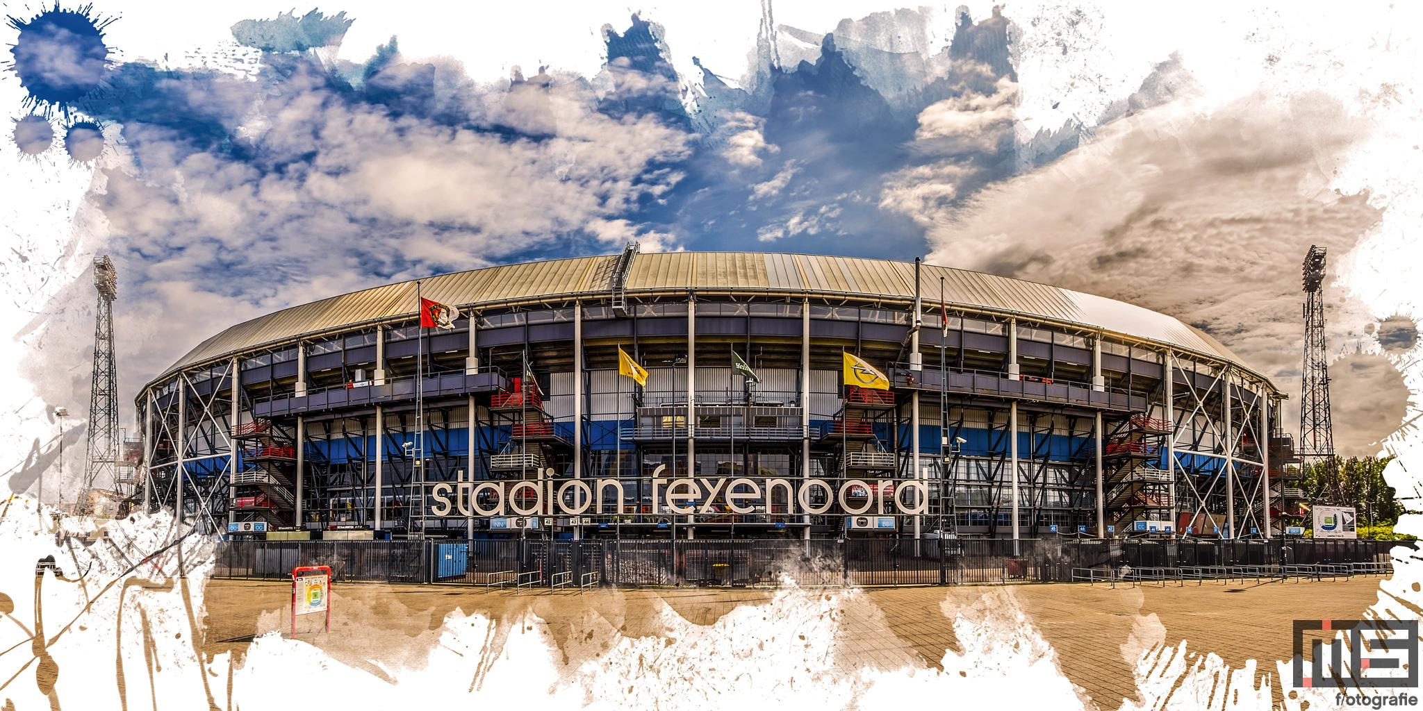 Te Koop   Het Feyenoord Art Stadion De Kuip in Rotterdam in kleur wit