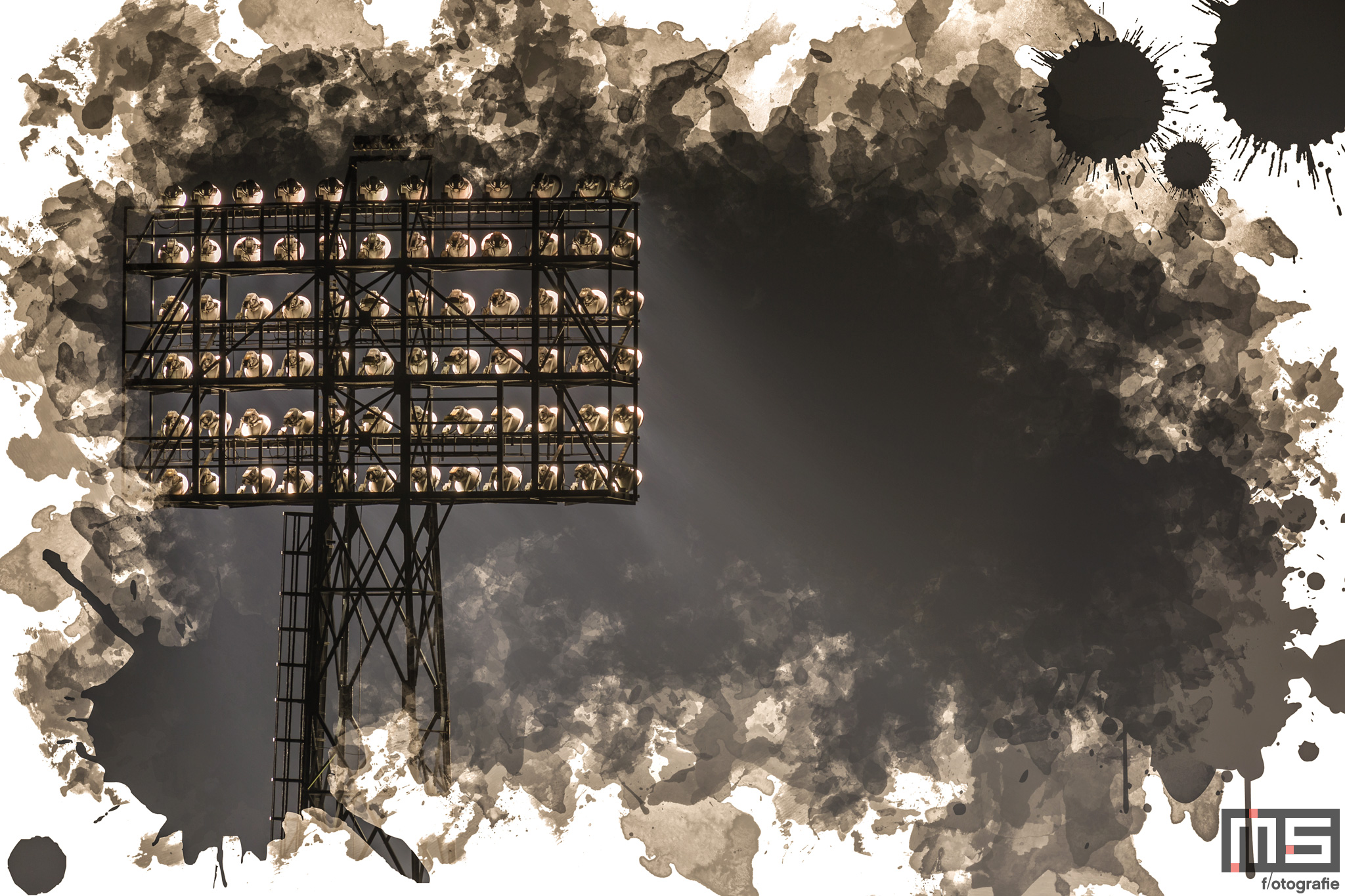 Te Koop   De lichtmast van het Feyenoord Art Stadion De Kuip in Rotterdam in detail