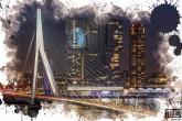Te Koop | De Erasmusbrug en de Wilhelminapier met het Feyenoord logo op de Rotterdam