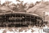 Te Koop | Het Feyenoord Art Stadion De Kuip in Rotterdam in wit sepia