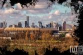 Te Koop | De skyline van Rotterdam met het Feyenoord Art Stadion De Kuip en Hollandse wolken