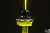 De Euromast in Rotterdam in het geel voor 100-jaar Tour de France