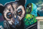 Een mural door Nina Valkhoff tijdens het Pow! Wow! Festval in de Afrikaanderwijk in Rotterdam