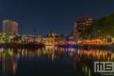 De Oudehaven met het Witte Huis en De Kubuswoningen in Rotterdam by Night