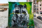 Big Racoon Streetart in Belém Lissabon in Portugal