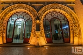 Het treinstation Rossio in Lissabon Stad in Portugal in de nachtelijke uren