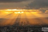 Te Koop | De skyline van Frankfurt by Night tijdens zonsondergang