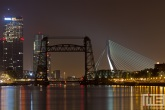 De Hef en de Erasmusbrug in Rotterdam by Night
