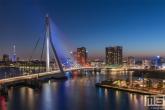Te Koop | De Rotterdamse Skyline met de Erasmusbrug en Euromast in Rotterdam in rood, wit en blauw