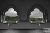 Het uitzicht vanuit het kasteel in het dorp Vianden in Luxemburg