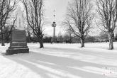 Sneeuw in het Park in Rotterdam met de Euromast