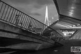 De Erasmusbrug in het stadscentrum van Rotterdam in zwart/wit