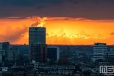 De zonsondergang in het stadscentrum van Rotterdam