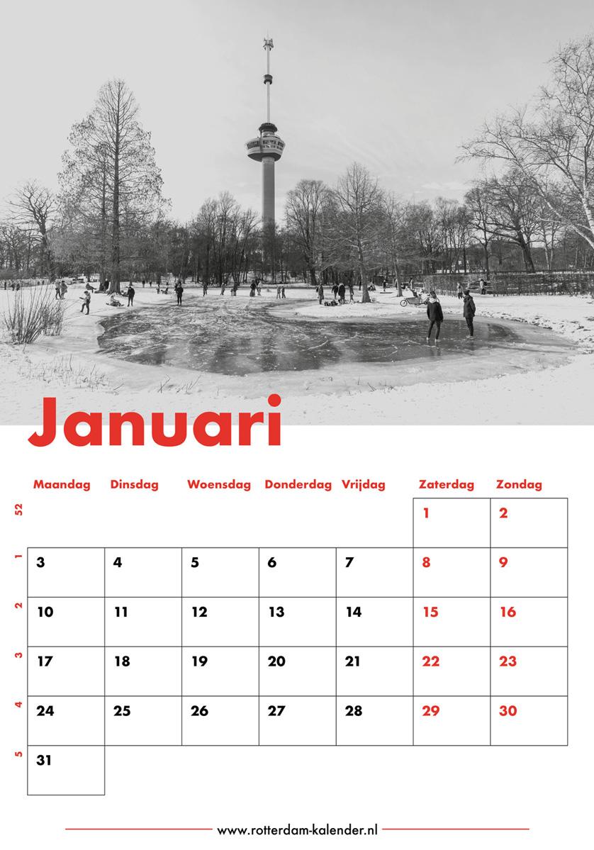 Te Koop | Het Park met de Euromast in Rotterdam in de sneeuw