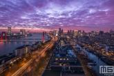 Te Koop | De skyline van Rotterdam met de Willemsbrug tijdens de zonsondergang