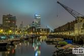 De Entrepothaven met diverse jachten in Rotterdam by Night