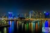 De havenmond van de Leuvehaven in Rotterdam by Night