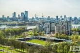 De skyline van Rotterdam met uitzicht op S.B.V. Excelsior in Rotterdam