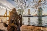 Het oude terras van het Wereldmuseum in Rotterdam tijdens zonsopkomst