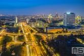 Het knooppunt Droogleever Fortuynplein in Rotterdam by Night