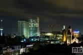 De skyline van Rotterdam met het Erasmus MC met lichttekst Zie Mij