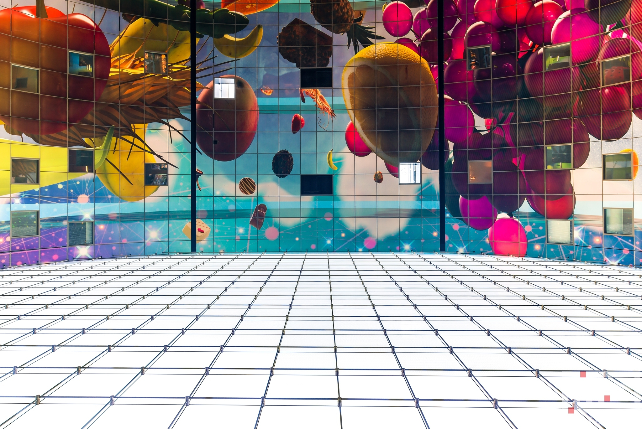 Het plafond van de Markthal Rotterdam in Rotterdam