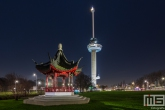 Te Koop | De Chinese Pagoda aan de voet van de Euromast in Rotterdam by Night