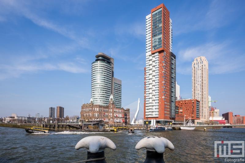 Te Koop | De Wilhelminapier met de Watertaxi Rotterdam in kleur