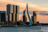 Te Koop | De zonsondergang in Rotterdam met de Erasmusbrug en De Rotterdam