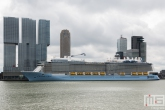 Het cruiseschip Ovation of the Seas aan de Cruise Terminal in Rotterdam