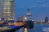 Het marineschip Zr. Ms. Rotterdam L800 aan de Cruise Terminal in Rotterdam by Night