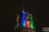 De Laurenskerk in Blauw, Rood en Groen tijdens de Dakendagen in Rotterdam
