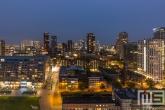 De Markthal Rotterdam vanaf de Laurenskerk in Rotterdam by Night