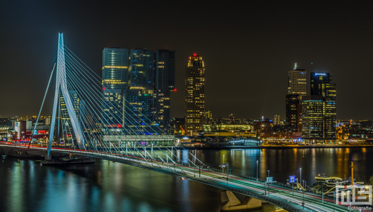 De Erasmusbrug in Rotterdam by Night | Cover Small