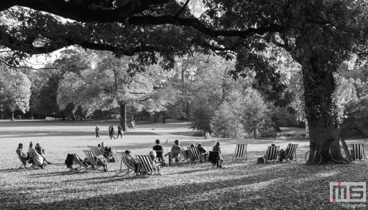 Het terras van Restaurant Parqiet in het Euromastpark in de Maasstad Rotterdam in zwart/wit | Cover Small